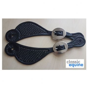 Spur Straps - Curved with Basket Tooling in Black